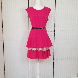 CeCe Hot Pink Sleeveless Ruffled Dress
